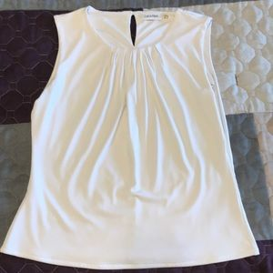 Calvin Klein white sleeveless blouse